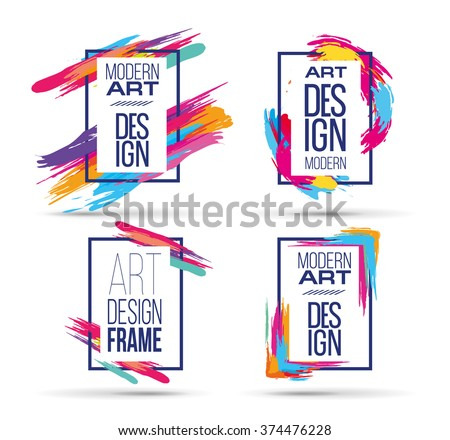 Vector frame for text and labels in the style of Modern Art graphics for hipsters background paint - stock vector