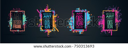 Vector frame for text Modern Art graphics for hipsters . element for design business cards, invitations, gift cards, flyers and brochures. frame set
