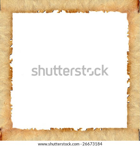 vector frame from old brown paper - stock vector