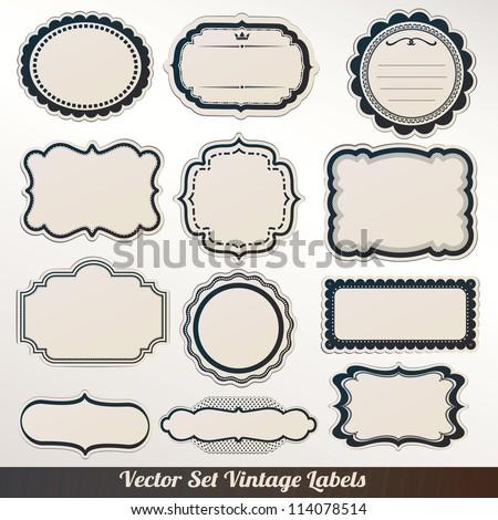 Vector Frame labels Set ornamental vintage decoration - stock vector