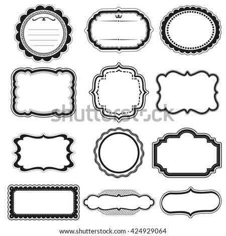 Vector Frame labels Set ornamental vintage decoration isolated on white  - stock vector
