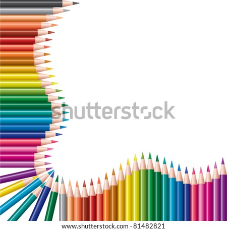 vector frame of colored pencils - stock vector