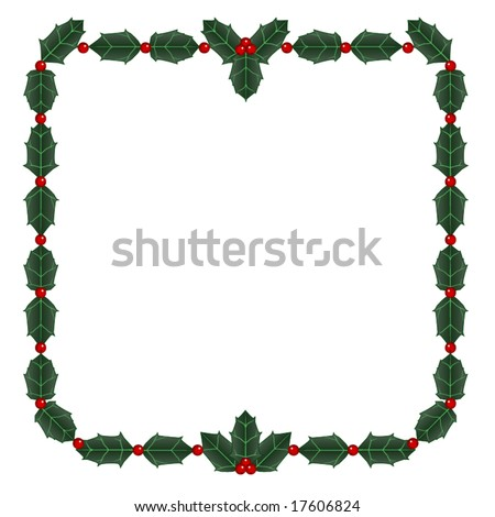 Vector frame of holly leaves and berries