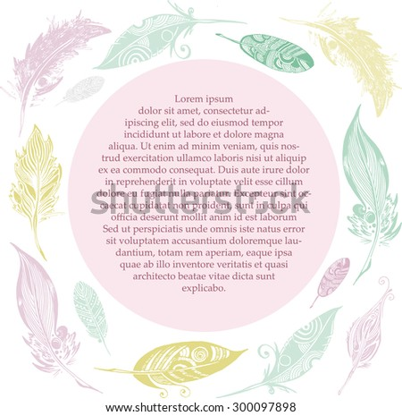 vector frame of sketch feathers on white background - stock vector