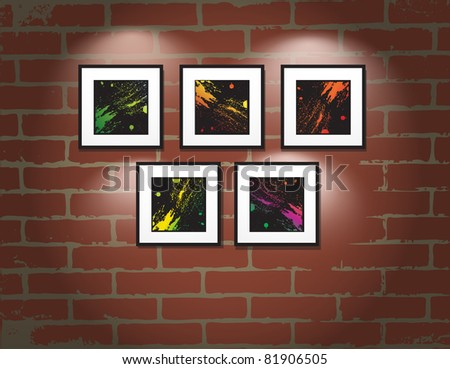 Vector frame on brick wall. Art gallery - stock vector