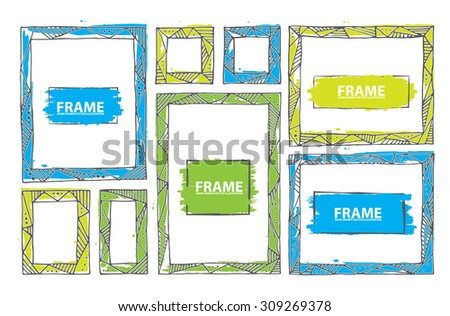 Vector frame set. Grunge ink rectangles. The frame is decorated with geometric print. Quick bubble sketches. - stock vector