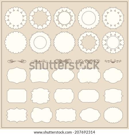 Vector frame set ornamental vintage decoration - stock vector
