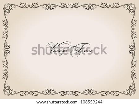 Vector frame. vintage retro decor ornament paper - stock vector