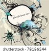 vector frame with a blue  lizard, colored bugs and a spider on an abstract background - stock photo