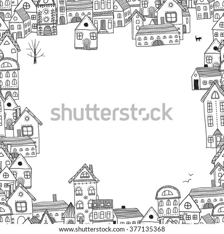 Vector frame with buildings for your text. Can be used as a frame, border, template, card, invitation, placard, banner,  - stock vector