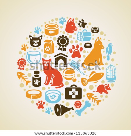 Vector frame with cat and dog icons - pet love concept - stock vector