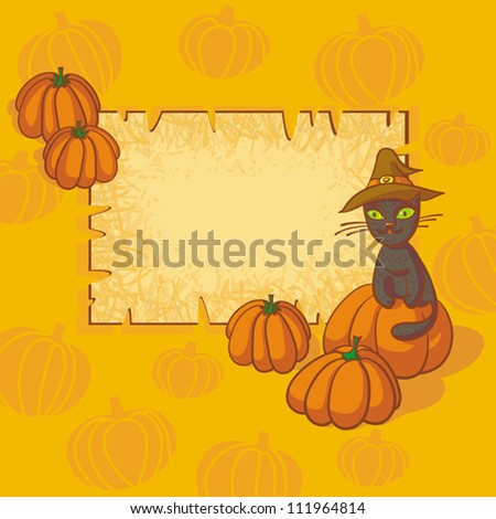 Vector Frame With Cat In Hat And Pumpkins.