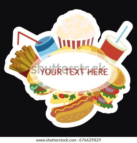 Vector Frame Fast Food Stylized Street Stock Vector 676629829 ...