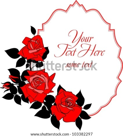 vector frame with flowering roses