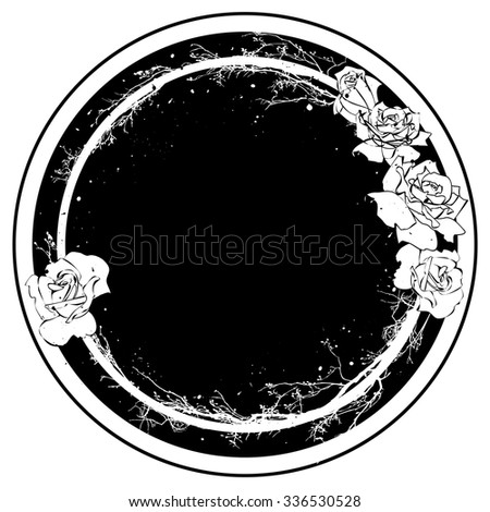 vector frame with flowers of roses in black and white colors - stock vector