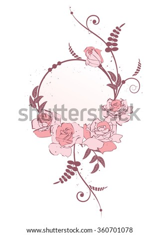 vector frame with  flowers of roses in pink colors - stock vector