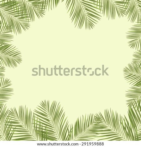 Vector frame with green exotic leaves