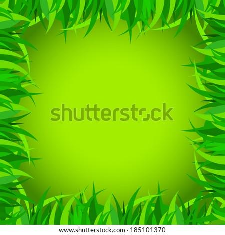 Vector frame with green grass - stock vector