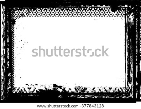 Vector Frame with halftone dots .Grunge Black and White textured rectangle for image frame. distressed border for your Design .