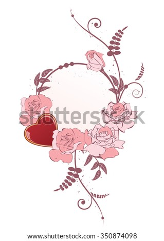 vector frame with heart and flowers of roses - stock vector