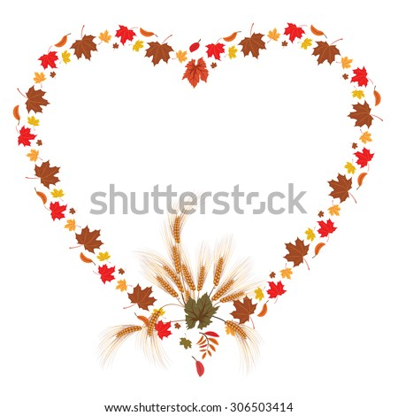 vector frame with leaves of maple and ears as heart - stock vector