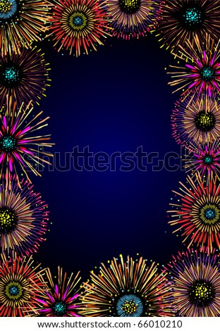 Vector frame with majestic fireworks - stock vector