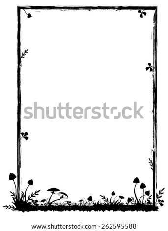 vector frame with mushrooms in black and white colors - stock vector