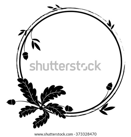 vector frame with oak in black and white colors - stock vector