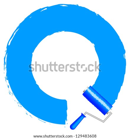 Vector frame with paint roller - blue - stock vector