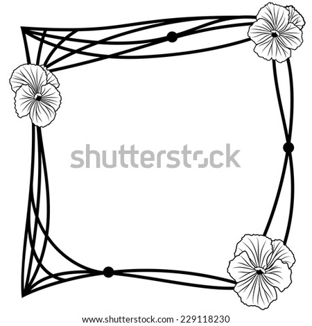 vector frame with pansies in black and white colors - stock vector