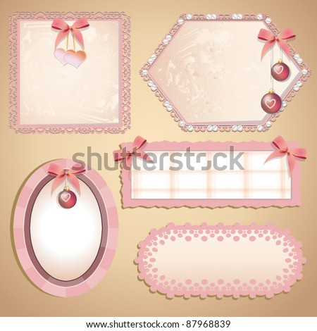 vector frame with ribbons and Christmas balls - stock vector