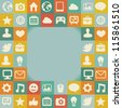 Vector frame with social media icons - abstract background in retro style - stock photo
