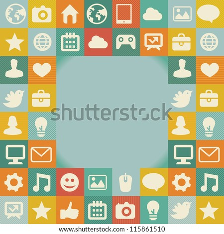 Vector frame with social media icons - abstract background in retro style - stock vector