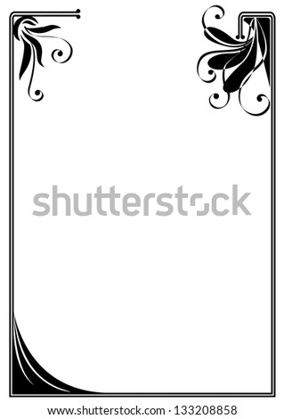 vector frame with stylized flowers in black and white colors - stock vector
