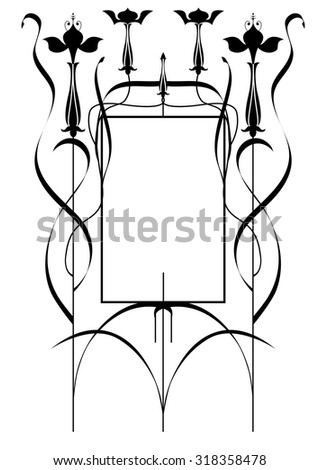 vector frame with stylized fuchsia in black and white colors - stock vector