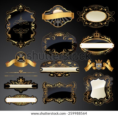 Vector frames and ornamental labels set. All pieces are separated.  - stock vector