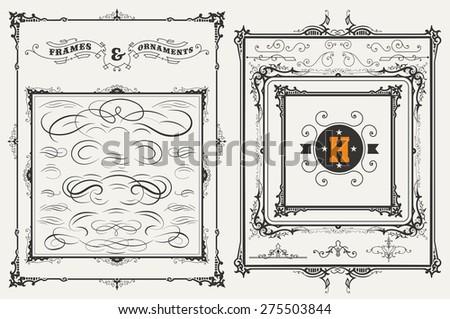 Vector. Frames and ornaments set. 37 elements - stock vector