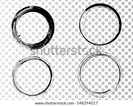 Vector Frames. circle for image. distress texture . Grunge Black and White borders isolated on the transparent background . Dirt effect .