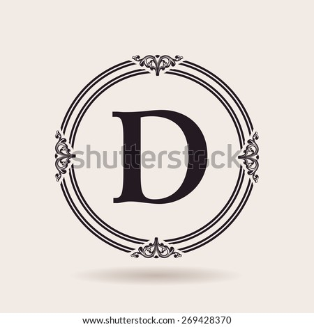 Vector frames design templates. Vintage labels and badges for logos. Alphabet letter D - stock vector