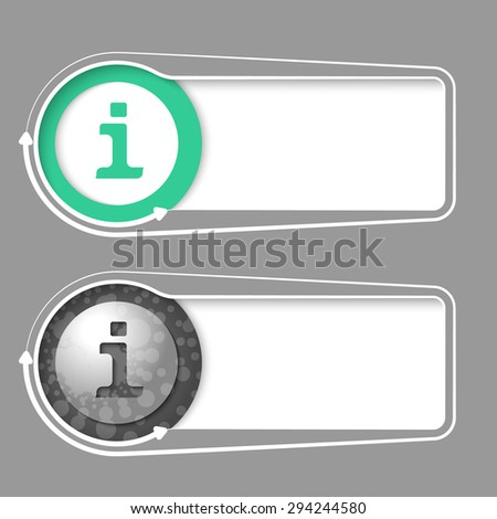 Vector frames for your text with abstract sample and info symbol - stock vector