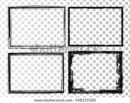 Vector Frames. rectangles for image. distress texture . Grunge Black and White borders isolated on the transparent background . Dirt effect .
