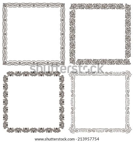 Vector frames set. Ornate and vintage design elements - stock vector