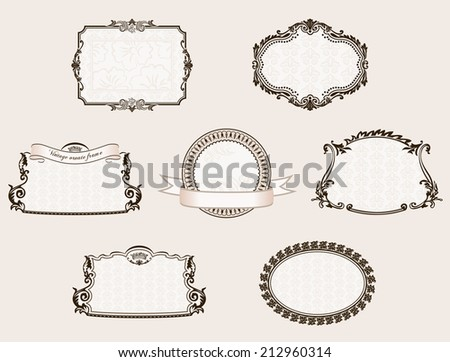 Vector frameworks set. Ornate and vintage decor elements