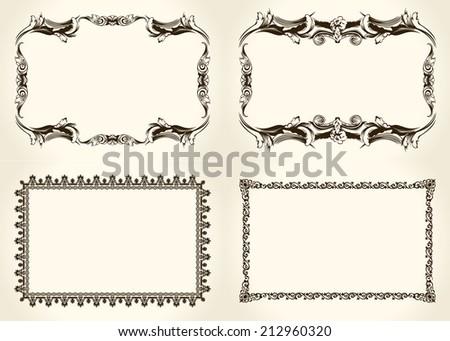 Vector frameworks set. Ornate and vintage design calligraphic elements - stock vector