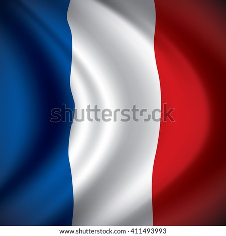 Vector France flag blowing in the wind. Background texture.