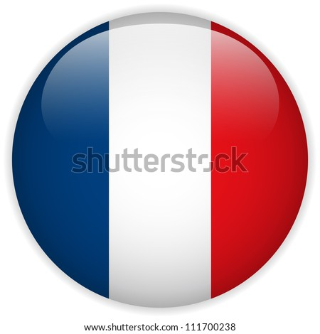 Vector - France Flag Glossy Button - stock vector