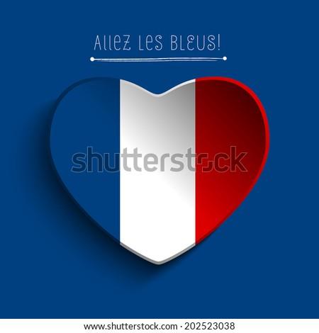 Vector - France Flag Heart Paper Sticker - stock vector