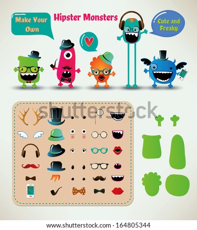Vector Freaky Hipster Monsters Set, Funny Illustration - stock vector