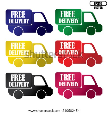 Vector:Free delivery colorful icons set.