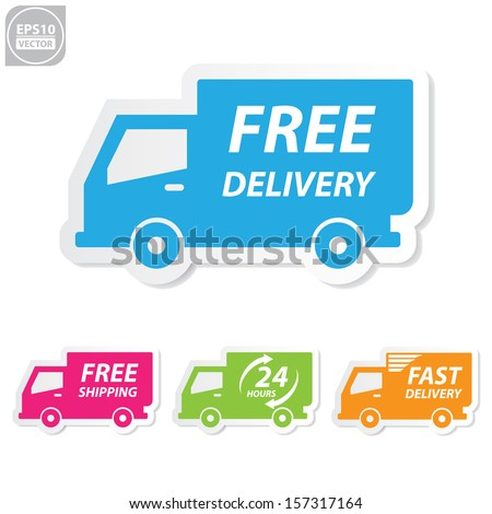 Vector:Free delivery, Free shipping, 24 hour and fast delivery icons set - stock vector